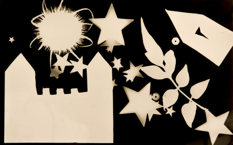 Working with Hannah Ray and Estelle Baker, photogram created by pupils at St Saviours