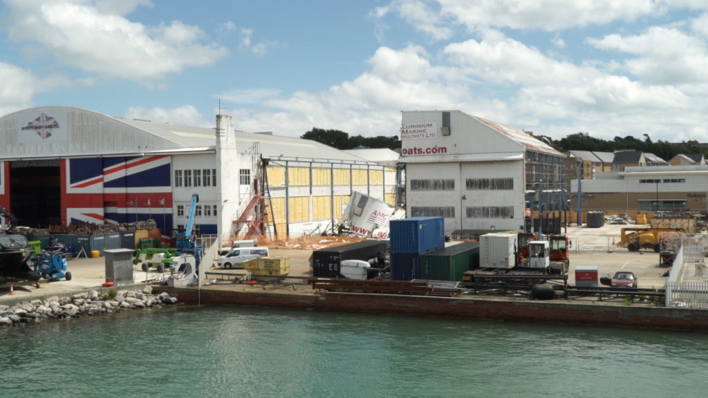 Former Boatbulding hangar being demolished