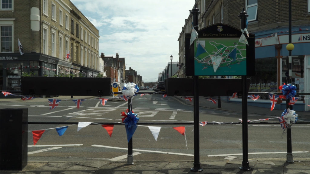 East Cowes with bunting for the Bicentenary celebrations