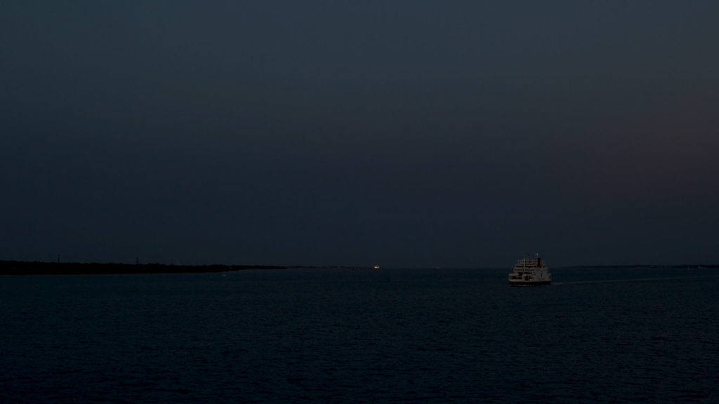 Red Funnel Ferry coming into East Cowes in the dark