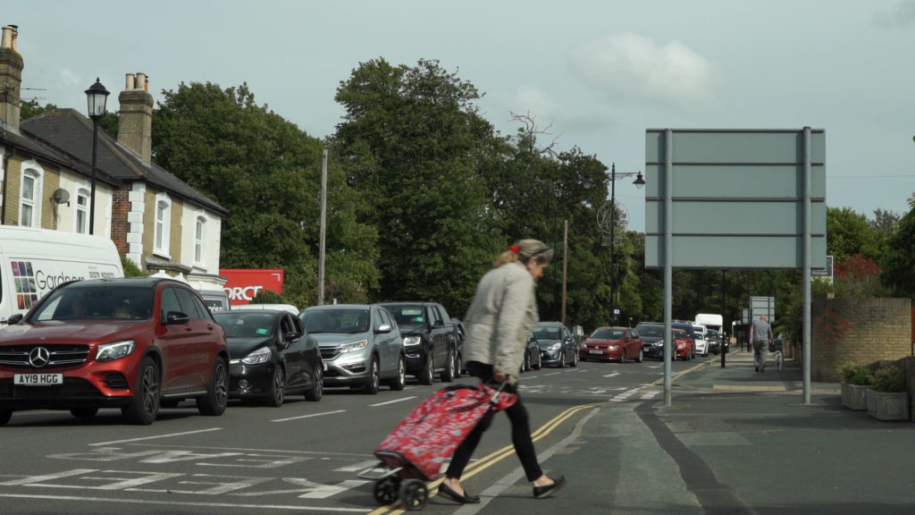 Queues of Red Funnel traffic in East Cowes